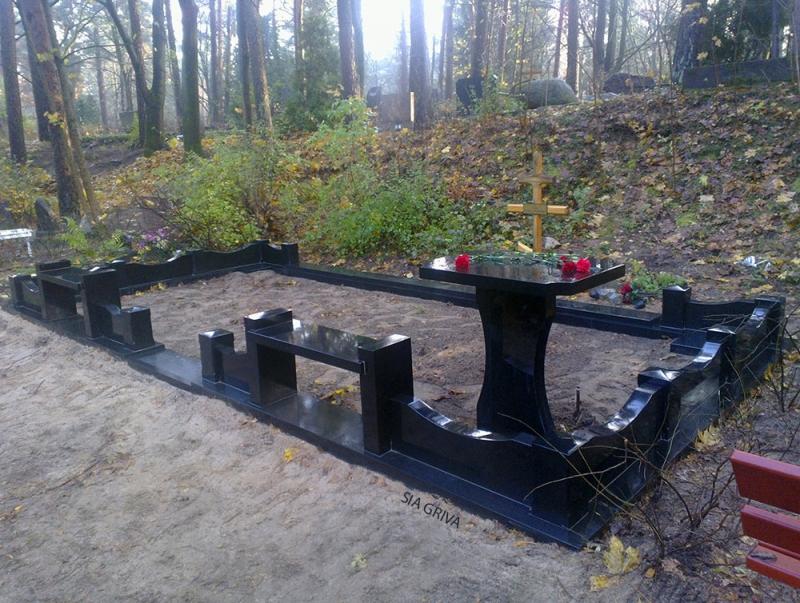 Granīta kapu soliņi un apmales