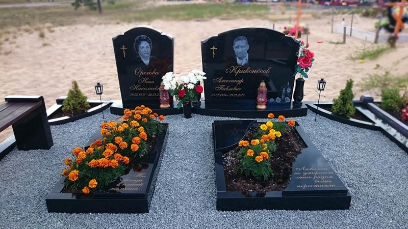 Ģimenes kapu pieminekļu ansamblisno Zviedrijas melnā granīta Bolderājas kapos, Rīgā